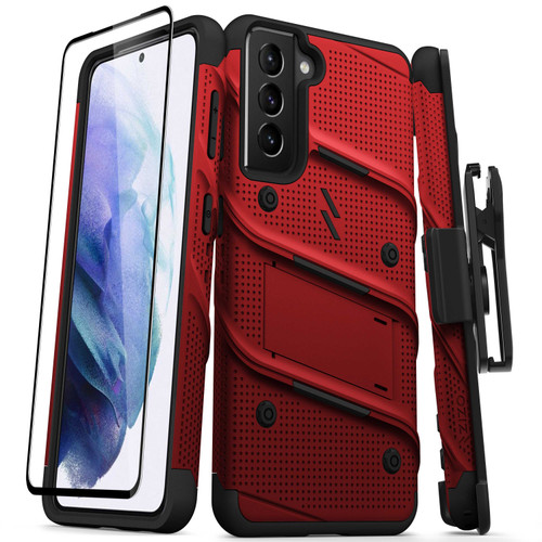 ZIZO BOLT Series for Galaxy S21 5G Case with Screen Protector Kickstand Holster Lanyard - Red & Black BOLT-SAMGS2163-RDBK