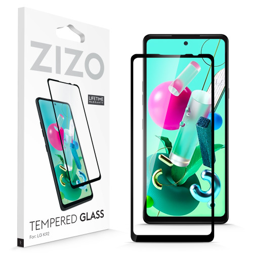 ZIZO TEMPERED GLASS Screen Protector for LG K92 5G Full Glue Clear Screen Protector with Anti Scratch and 9H Hardness - Black GLSHD-LGK92-BLK