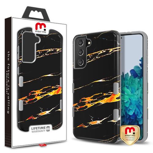 MyBat Pro TUFF Subs Hybrid Case for Samsung Galaxy S21 Plus - Supreme Black Gold Flower Marble / Iron Gray