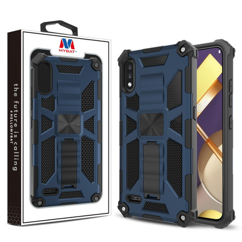 MyBat Sturdy Hybrid Protector Cover (with Stand) for Lg K22 - Ink Blue / Black
