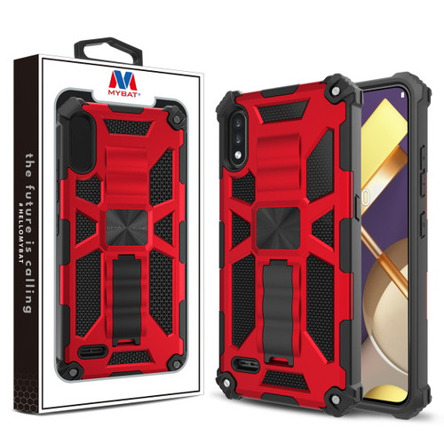 MyBat Sturdy Hybrid Protector Cover (with Stand) for Lg K22 - Red / Black