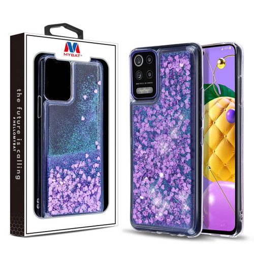 MyBat Quicksand Glitter Hybrid Protector Cover for Lg K53 - Hearts & Purple