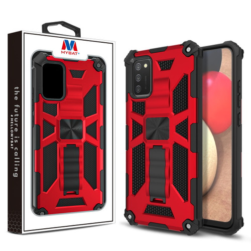 MyBat Sturdy Hybrid Protector Cover (with Stand) for Samsung Galaxy A02s - Red / Black