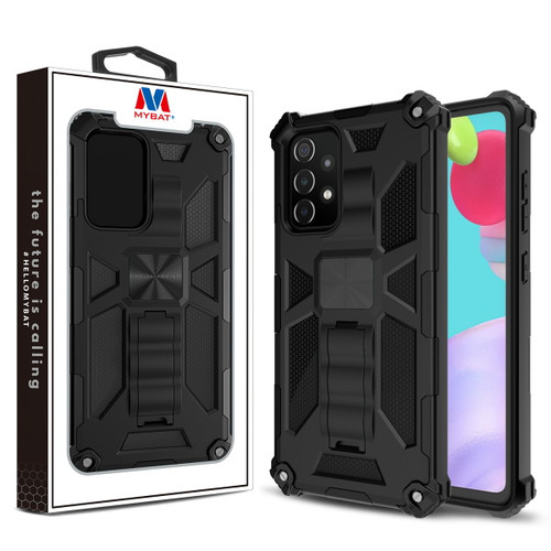 MyBat Sturdy Hybrid Protector Cover (with Stand) for Samsung Galaxy A52 5G - Black / Black