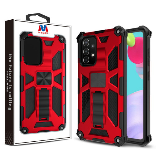MyBat Sturdy Hybrid Protector Cover (with Stand) for Samsung Galaxy A52 5G - Red / Black