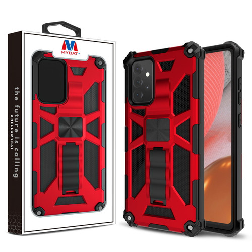 MyBat Sturdy Hybrid Protector Cover (with Stand) for Samsung Galaxy A72 5G - Red / Black