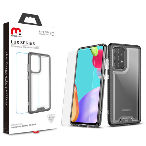 MyBat Pro Lux Series Hybrid Case (Tempered Glass Screen Protector) for Samsung Galaxy A52 5G - Black / Transparent Clear