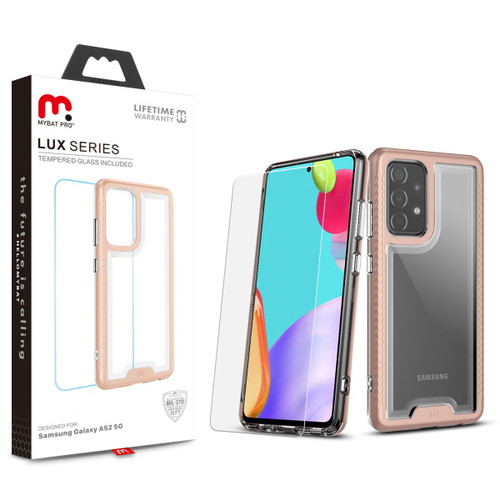 MyBat Pro Lux Series Hybrid Case (Tempered Glass Screen Protector) for Samsung Galaxy A52 5G - Rose Gold / Transparent Clear