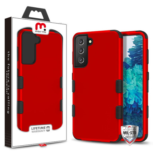 MyBat Pro TUFF Hybrid Protector Cover [Military-Grade Certified] for Samsung Galaxy S21 Plus - Titanium Red / Black