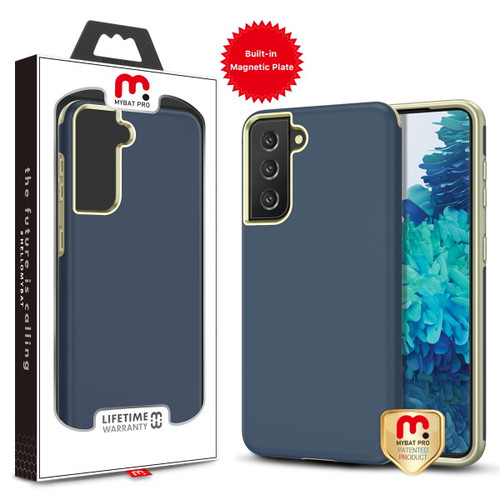 MyBat Pro MyBat Pro Fuse Series Case (with Magnetic Plate) for Samsung Galaxy S21 Plus - Rubberized Ink Blue / Metallic Gold