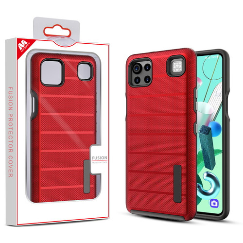 MyBat Fusion Protector Cover for Cricket Grand Lg K92 5G - Red Dots Textured / Black