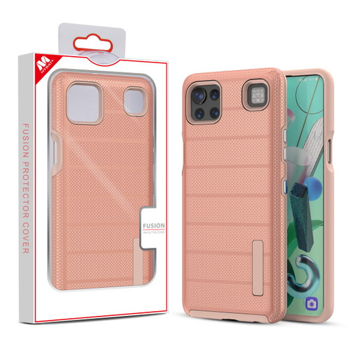 MyBat Fusion Protector Cover for Cricket Grand Lg K92 5G - Rose Gold Dots Textured / Rose Gold