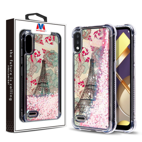MyBat Quicksand Glitter Hybrid Protector Cover for Lg K22 - Eiffel Tower & Pink Hearts