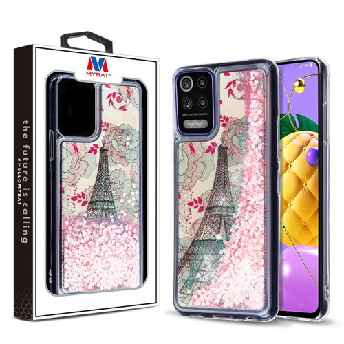 MyBat Quicksand Glitter Hybrid Protector Cover for Lg K53 - Eiffel Tower & Pink Hearts