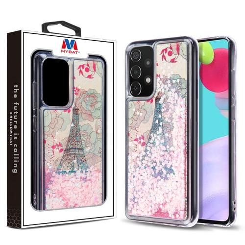 MyBat Quicksand Glitter Hybrid Protector Cover for Samsung Galaxy A52 5G - Eiffel Tower & Pink Hearts