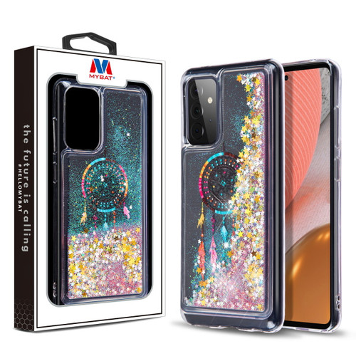 MyBat Quicksand Glitter Hybrid Protector Cover for Samsung Galaxy A72 5G - Dreamcatcher & Gold Stars