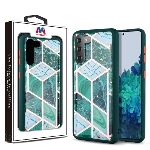 MyBat Hybrid Case for Samsung Galaxy S21 Plus - Green Marbling / Green