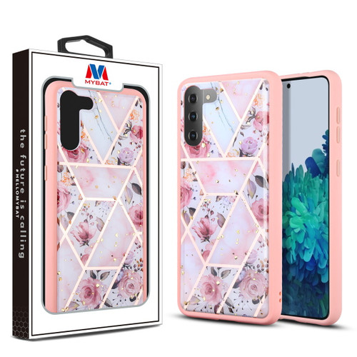 MyBat Hybrid Case for Samsung Galaxy S21 Plus - Roses Marbling / Pink