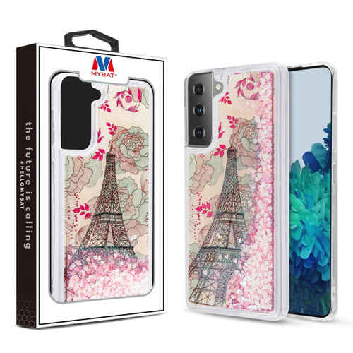 MyBat Quicksand Glitter Hybrid Protector Cover for Samsung Galaxy S21 Plus - Eiffel Tower & Pink Hearts
