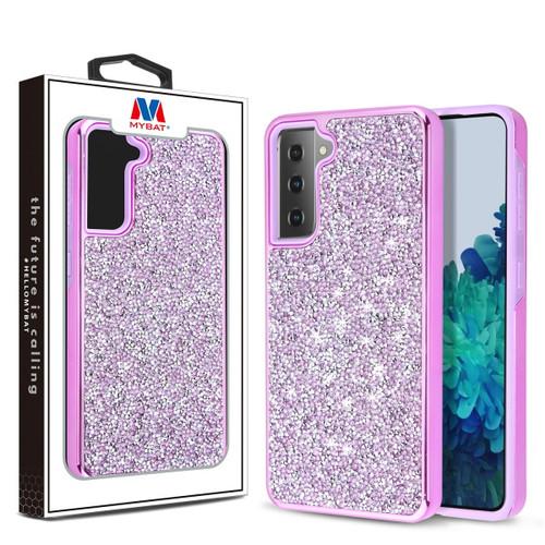 MyBat Encrusted Rhinestones Hybrid Case for Samsung Galaxy S21 Plus - Electroplated Purple / Purple