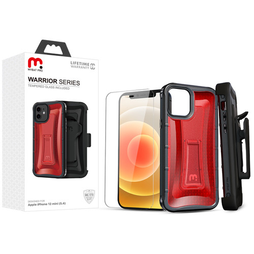 MyBat Pro MyBat Pro Warrior Series Hybrid Case Combo (with Black Holster)(Tempered Glass Screen Protector) for Apple iPhone 12 mini (5.4) - Transparent Red / Black
