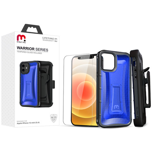 MyBat Pro MyBat Pro Warrior Series Hybrid Case Combo (with Black Holster)(Tempered Glass Screen Protector) for Apple iPhone 12 mini (5.4) - Transparent Blue / Black