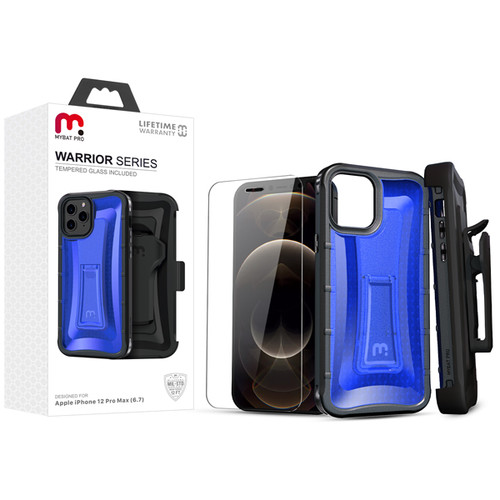 MyBat Pro MyBat Pro Warrior Series Hybrid Case Combo (with Black Holster)(Tempered Glass Screen Protector) for Apple iPhone 12 Pro Max (6.7) - Transparent Blue / Black