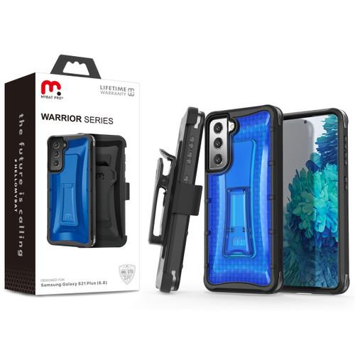 MyBat Pro Warrior Series Hybrid Case Combo (with Black Holster) for Samsung Galaxy S21 Plus - Transparent Blue / Black