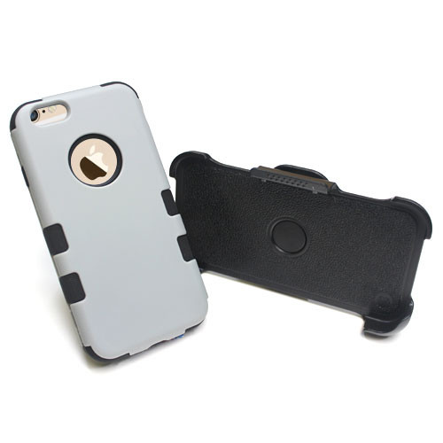 Rubberized Gray/Black TUFF Hybrid Phone Protector Cover Combo (with Black Holster) [Military-Grade Certified]