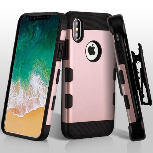 Rose Gold/Black TUFF Trooper Hybrid Protector Cover [Military-Grade Certified](with Black Horizontal Holster)