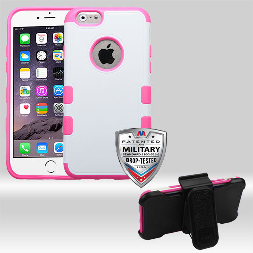Natural Cream White/Hot Pink TUFF Merge Hybrid Protector Cover Combo [Military-Grade Certified] (with Black Horizontal Holster)