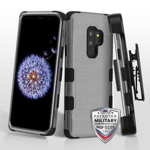 Dark Gray Brushed/Black TUFF Hybrid Phone Protector Cover [Military-Grade Certified](with Black Horizontal Holster)