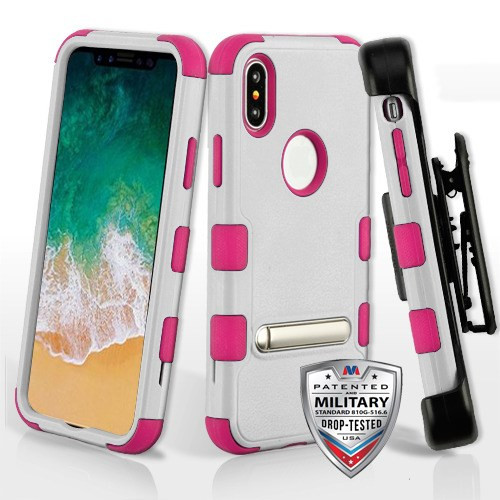 Natural Cream White/Hot Pink TUFF Hybrid Protector Cover (with Magnetic Metal Stand)[Military-Grade Certified](with Black Horizontal Holster)