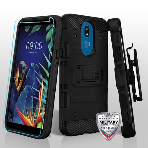 MyBat 3-in-1 Storm Tank Hybrid Protector Cover Combo (with Black Holster)(Tempered Glass Screen Protector)[Military-Grade Certified] for LG K40 / Harmony 3 - Black / Black