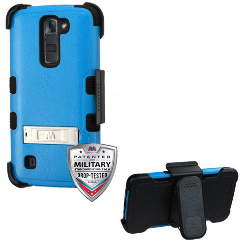 Natural Dark Blue/Black TUFF Hybrid Phone Protector Cover Combo (with Stand)(with Black Horizontal Holster) [Military-Grade Certified]