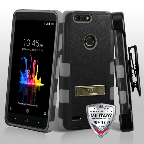 Natural Black/Iron Gray TUFF Hybrid Phone Protector Cover (with Stand)[Military-Grade Certified](with Black Horizontal Holster)