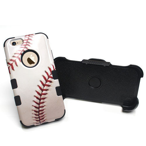 Baseball-Sports Collection/Black TUFF Hybrid Phone Protector Cover Combo (with Black Holster) [Military-Grade Certified]