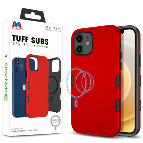 MyBat TUFF SUBS SERIES Hybrid Case + AttachMe with MagSafe Compatible for Apple iPhone 12 mini (5.4) - Rubberized Red / Black