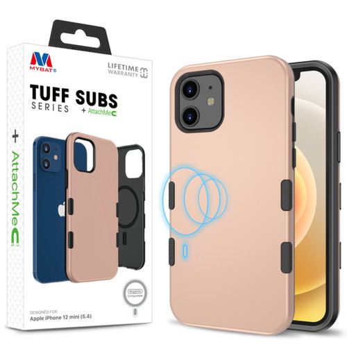 MyBat TUFF SUBS SERIES Hybrid Case + AttachMe with MagSafe Compatible for Apple iPhone 12 mini (5.4) - Rose Gold / Black
