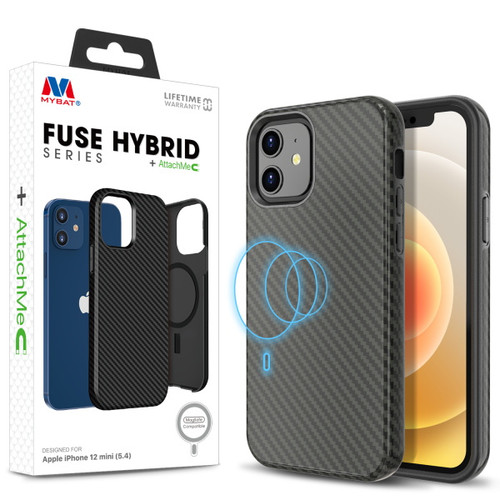 MyBat FUSE HYBRID SERIES + AttachMe with MagSafe Compatible for Apple iPhone 12 mini (5.4) - Black Carbon Fiber Texture / Black