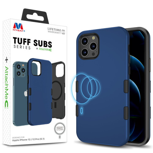 MyBat TUFF SUBS SERIES Hybrid Case + AttachMe with MagSafe Compatible for Apple iPhone 12 Pro (6.1) / iPhone 12 (6.1) - Rubberized Navy Blue / Black
