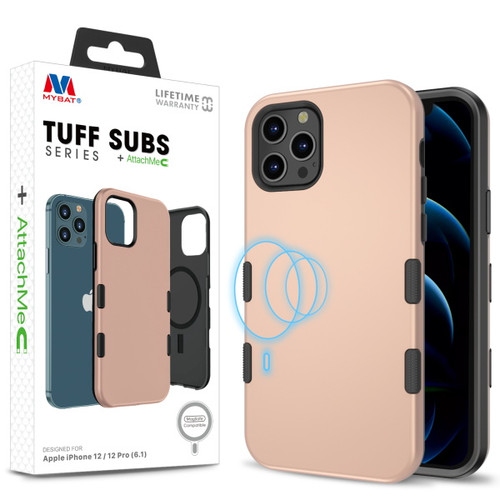 MyBat TUFF SUBS SERIES Hybrid Case + AttachMe with MagSafe Compatible for Apple iPhone 12 Pro (6.1) / iPhone 12 (6.1) - Rose Gold / Black