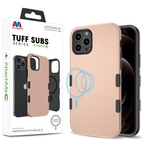 MyBat TUFF SUBS SERIES Hybrid Case + AttachMe with MagSafe Compatible for Apple iPhone 12 Pro Max (6.7) - Rose Gold / Black