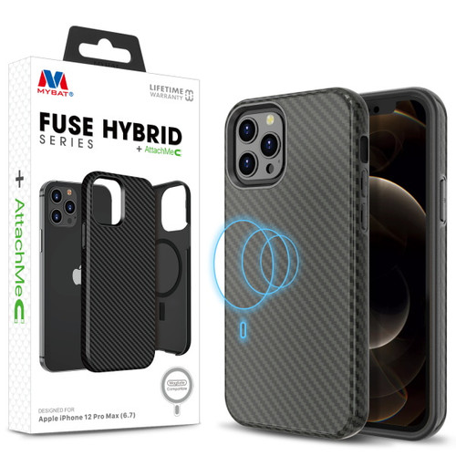 MyBat FUSE HYBRID SERIES + AttachMe with MagSafe Compatible for Apple iPhone 12 Pro Max (6.7) - Black Carbon Fiber Texture / Black