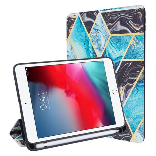 MyBat Slim Fit Smart MyJacket with Trifold Stand for Apple iPad mini 4 (A1538,A1550) / iPad mini (2019) - Black / Blue Mixed Marbling