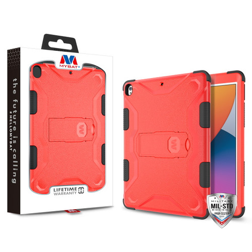 MyBat TUFF Hybrid Protector Cover (with Stand) [Military - Grade Certified] for Apple iPad 10.2 (2019) (A2197, A2200, A2198)/iPad 10.2 (2020) / iPad Air 10.5 (2019) - Natural Red / Black