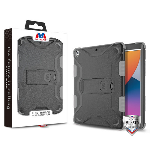 MyBat TUFF Hybrid Protector Case (with Stand)[Military-Grade Certified] for Apple iPad 10.2 (2019) (A2197, A2200, A2198)/iPad 10.2 (2020) / iPad Air 10.5 (2019) - Natural Black / Iron Gray