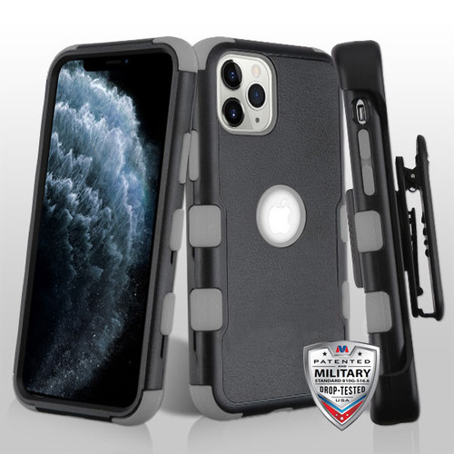 MyBat TUFF Series Case (with Black Horizontal Holster) for Apple iPhone 11 Pro - Natural Black / Iron Gray