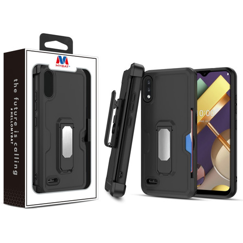 MyBat Grip Stand Protector Case Combo (with Black Holster)(with Card Wallet) for LG K22 - Black / Black