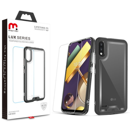 MyBat Pro Lux Series Case with Tempered Glass for LG K22 - Black